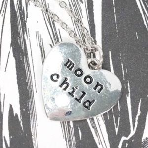 Lux Moon Child heart charm necklace silver NWOT